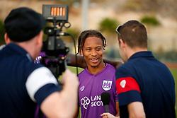 Bobby Reid of Bristol City is interviewed - Mandatory by-line: Matt McNulty/JMP - 22/07/2017 - FOOTBALL - Tenerife Top Training - Costa Adeje, Tenerife - Bristol City v Atletico Union Guimar  - Pre-Season Friendly