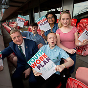 31.05.2018.          <br /> Limerick and Clare Education Training Board launch Youth Work Plan 2018-2021 at Thomond Park Limerick with Pat Breen TD, Minister of State with special responsibility for Trade, Employment, Business, EU Digital Single Market and Data Protection, Clare. <br /> <br /> Pictured at the event were, Pat Breen TD, Minister of State with special responsibility for Trade, Employment, Business, EU Digital Single Market and Data Protection, Clare with, Tadhg Hession, LYS, Isha Lazo, Comhairle na nOg, Nikita Fitzgerald and Jacqueline Hogan, LYS. Picture: Alan Place