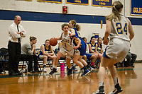 Gilford's Brooke Beaudet is pressured by Franklin's Clarissa Martin during NHIAA Division III basketball Tuesday evening.  (Karen Bobotas/for the Laconia Daily Sun)