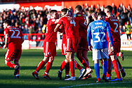Accrington Stanley defender Michael Ihiekwe (4), on loan from Rotherham United, scores a goal and celebrates to make the score 1-1 during the EFL Sky Bet League 1 match between Accrington Stanley and Portsmouth at the Fraser Eagle Stadium, Accrington, England on 27 October 2018.
