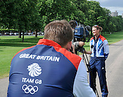 Windsor, Great Britain,    Heather STANNING interview, Peter REED Taking pictures. Team GB, 2012 Olympic games, London, Rowing Team announcement  photocall  The Long Walk, Windsor Great Park, Windsor, Berks Wednesday  06/06/2012 . . [Mandatory Credit. Peter Spurrier/Intersport Images]