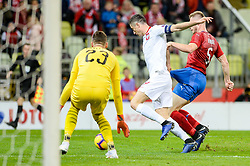 November 15, 2018 - Gdansk, Poland, ROBERT LEWANDOWSKI from Poland (L) and JAKUB BRABEC from Czech Republic (R) during football friendly match between Poland - Czech Republic at the Stadion Energa in Gdansk, Poland