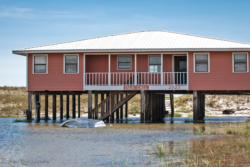 Home in Gulf Shores Alabama on Sept. 17, 2020 surrounded by flood water.