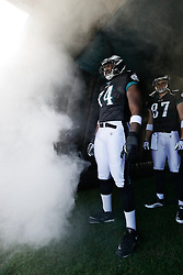 Philadelphia Eagles offensive tackle Winston Justice #74 enters the field before the NFL game between the Washington Redskins and the Philadelphia Eagles on November 29th 2009. The Eagles won 27-24 at Lincoln Financial Field in Philadelphia, Pennsylvania. (Photo By Brian Garfinkel)