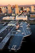 The Navy aircraft carrier USS Midway, downtown San Diego, California.