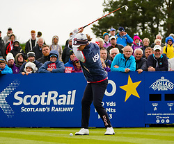 Auchterarder, Scotland, UK. 14 September 2019. Saturday afternoon Fourballs matches  at 2019 Solheim Cup on Centenary Course at Gleneagles. Pictured; Marina Alex of Team USA plays tee shot on the 10th hole.  Iain Masterton/Alamy Live News
