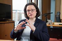 15 MAR 2018, BERLIN/GERMANY:<br /> Andrea Nahles, SPD Fraktionsvorsitzende, waehrend einem Interview, in ihrem Buero, Jakob-Kaiser-Haus, Deutscher Bundestag<br /> IMAGE: 20180315-01-005<br /> KEYWORDS: Büro