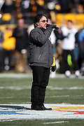 Singer, songwriter, and music producer John Oates, formerly of the pop band Hall & Oates, sings the National Anthem before the Pittsburgh Steelers NFL 2018 AFC Divisional playoff football game against the Jacksonville Jaguars, Sunday, Jan. 14, 2018 in Pittsburgh. The Jaguars won the game 45-42. (©Paul Anthony Spinelli)