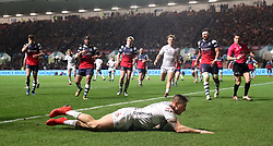 Gloucester's Jason Woodward scores their first try during the Gallagher Premiership match at Ashton Gate, Bristol.