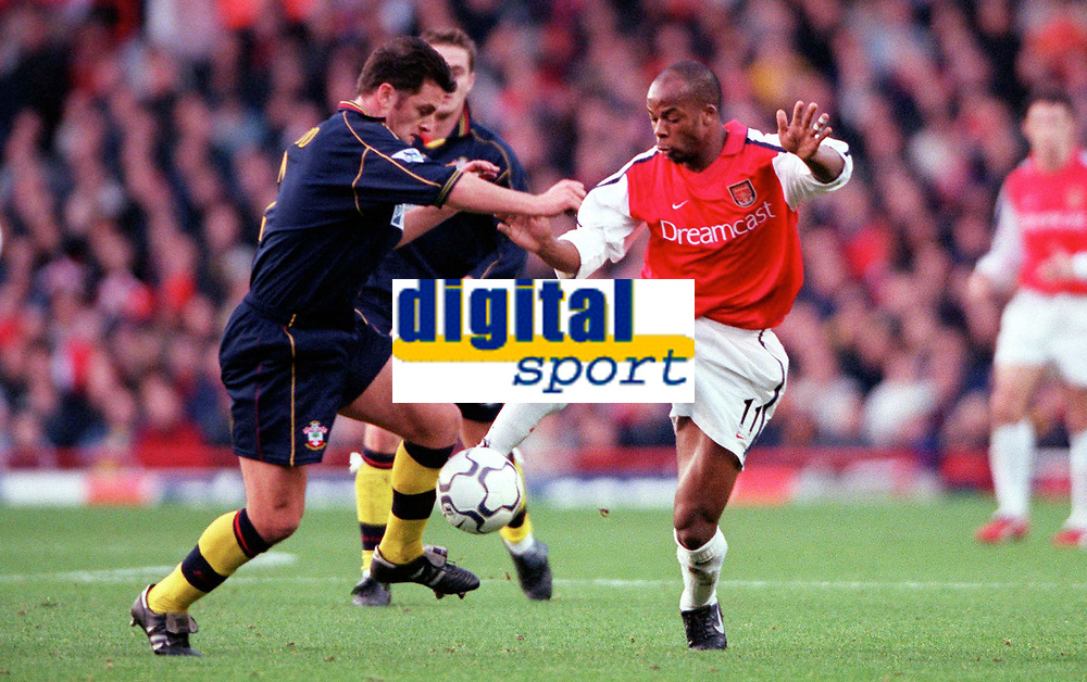 Sylvian Wiltord (Arsenal) Jason Dodd (Southampton). Arsenal 1: 0 Southampton, F.A.Carling Premiership, 2/12/2000. Credit Colorsport / Stuart MacFarlane