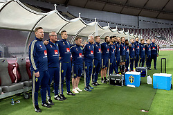 January 11, 2019 - Doha, QATAR - 190111 Sweden's head coach Janne Andersson and assistant coach Peter Wettergren and the rest of the bench during the Swedish national anthem during the international friendly football match between Sweden and Iceland on January 11, 2019 in Doha..Photo: Niklas Larsson / BILDBYRÃ…N / kod NL / 44174 (Credit Image: © Niklas Larsson/Bildbyran via ZUMA Press)