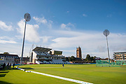 General view of the Cooper Associates County Ground with early morning sunshine ahead of the Specsavers County Champ Div 1 match between Somerset County Cricket Club and Essex County Cricket Club at the Cooper Associates County Ground, Taunton, United Kingdom on 23 September 2019.