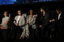 Cast and crew from the film attend the Sydney Premiere of first Aussie Netflix Original, Tidelands at Bennelong Lawn, Royal Botanic Gardens. 10 Dec 2018 Pictured: Elsa Pataky (Adrielle Cuthbert), Aaron Jakubenko (Augie McTeer), Madeleine Madden (Viola Roux), cast and crew. Photo credit: Richard Milnes / MEGA TheMegaAgency.com +1 888 505 6342