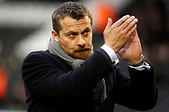 Fulham Manager Slavisa Jokanovic shows his appreciation to the Fulham fans prior to kick off. EFL Skybet championship match, Fulham v Barnsley at Craven Cottage in London on Saturday 23rd December 2017<br /> pic by Steffan Bowen, Andrew Orchard sports photography.