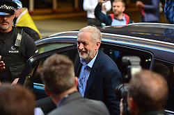 © Licensed to London News Pictures. 15/09/2015. Brighton, UK. New leader of the Labour Party JEREMY CORBY arriving at the 2015 TUC (Trades Union Congress) conference, held at the  Brighton Centre in Brighton, East Sussex, UK. Photo credit: Ben Cawthra/LNP