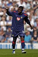 Photo. Jed Wee.<br /> Leeds United v Portsmouth, FA Barclaycard Premiership, 25/04/2004.<br /> Portsmouth's Aiyegbeni Yakubu celebrates after scoring.