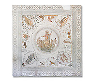 Roman mosaic panel of the Triumph of Neptune and  the mytrhical legend of The Four Seasons. From the private baths at Caput Vada (La Chebbs). End of the reign of Antoninus Pius, 138-161 AD. From Cheba, Tunisia.  The Thugga Room of The Bardo Museum, Tunis, Tunisia. White background .<br /> <br /> If you prefer to buy from our ALAMY PHOTO LIBRARY  Collection visit : https://www.alamy.com/portfolio/paul-williams-funkystock/roman-mosaic.html - Type -   Bardo    - into the LOWER SEARCH WITHIN GALLERY box. Refine search by adding background colour, place, museum etc<br /> <br /> Visit our ROMAN MOSAIC PHOTO COLLECTIONS for more photos to download  as wall art prints https://funkystock.photoshelter.com/gallery-collection/Roman-Mosaics-Art-Pictures-Images/C0000LcfNel7FpLI