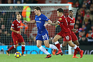 Andreas Christensen of Chelsea (l) looks to get away from Philippe Coutinho of Liverpool. Premier League match, Liverpool v Chelsea at the Anfield stadium in Liverpool, Merseyside on Saturday 25th November 2017.<br /> pic by Chris Stading, Andrew Orchard sports photography.