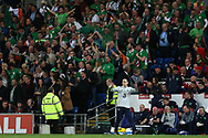 Martin O'Neill , the Republic of Ireland manager reacts after his player James McClean of Republic of Ireland scores his teams 1st goal. Wales v Rep of Ireland , FIFA World Cup qualifier , European group D match at the Cardiff city Stadium in Cardiff , South Wales on Monday 9th October 2017. pic by Andrew Orchard, Andrew Orchard sports photography