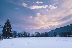 THEMENBILD - winterliche Landschaft mit schöner Wolkenstimmung am Himmel, aufgenommen am 10. Februara 2021 in Kaprun, Oesterreich // wintry landscape with beautiful clouds in the sky, in Kaprun, Austria on 2021/02/10. EXPA Pictures © 2021, PhotoCredit: EXPA/Stefanie Oberhauser