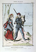 Franco-Prussian War 1870-1871: Siege of Paris 19 Sept 1870-28 Jan 1871. Farewell between a National Guardsman and his sweetheart who is wearing a Red Cross armband. From 'Paris Bloque', Faustin Betbeder. Medicine Nurse France Germany