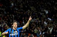 """esultanza di diego milito dell'inter<br /> Milano 31/3/2010 Stadio """"Giuseppe Meazza""""<br /> Inter CSKA Mosca<br /> Champions League 2009/2010<br /> Foto Bibi Insidefoto"""