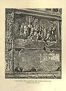 TEMPLE SPOILS, SHOWING THE GOLDEN CANDLESTICK. From the Arch of Titus [Rome, Italy] From the book ' The seven golden candlesticks ' by Tristram, H. B. (Henry Baker), 1822-1906 Published by The Religious tract society [London] in 1871