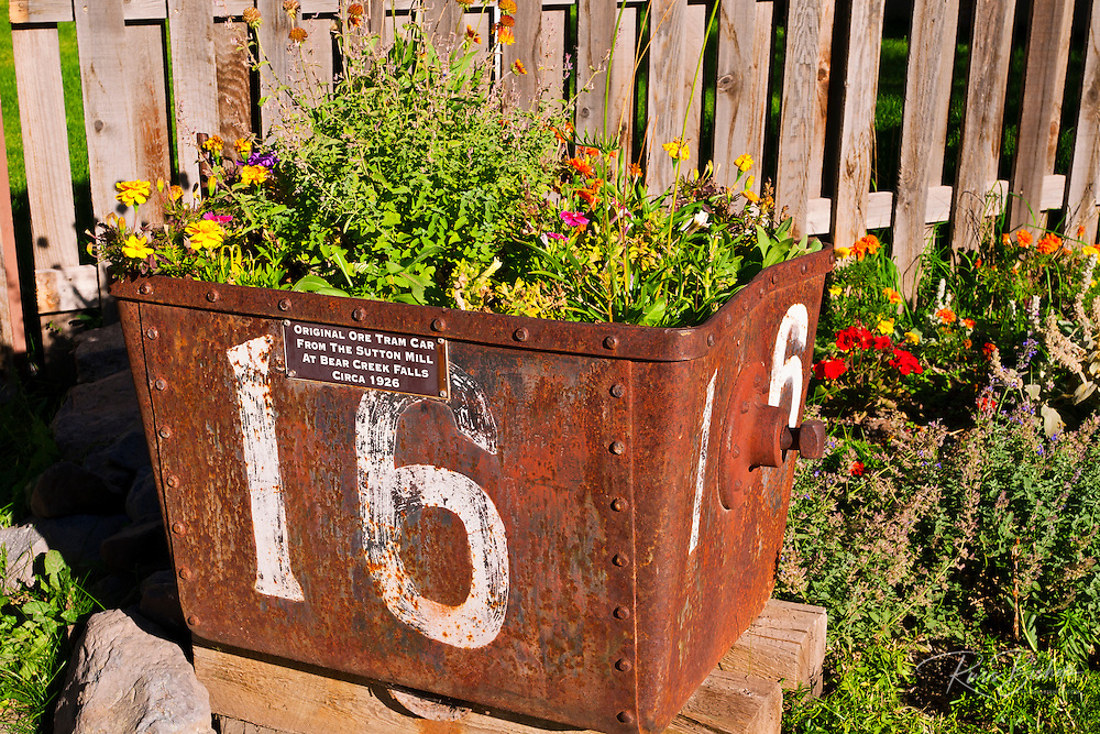Ore car planted with flowers, Ouray, Colorado