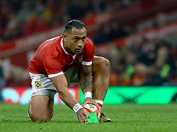 Sonatane Takulua of Tonga lines up a conversion<br /> <br /> Photographer Simon King/Replay Images<br /> <br /> Under Armour Series - Wales v Tonga - Saturday 17th November 2018 - Principality Stadium - Cardiff<br /> <br /> World Copyright © Replay Images . All rights reserved. info@replayimages.co.uk - http://replayimages.co.uk