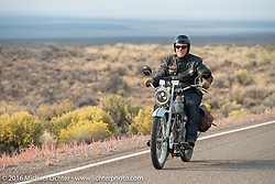 Frankfurt, Germany Harley-Davidson dealer Thomas Trapp, riding his 1916 Harley-Davidson F rides during Stage 13 (257 miles) of the Motorcycle Cannonball Cross-Country Endurance Run, which on this day ran from Elko, NV to Meridian, Idaho, USA. Thursday, September 18, 2014.  Photography ©2014 Michael Lichter.