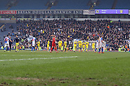 Leeds players go towards their own fans at the final whistle with the scoreboard at 1-2 to Leeds. Skybet football league Championship match, Blackburn Rovers v Leeds United at Ewood Park in Blackburn, Lancs on Saturday 12th March 2016.<br /> pic by Chris Stading, Andrew Orchard sports photography.