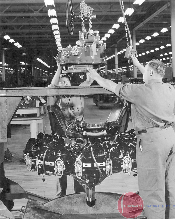 B17 engine assembly at Studebaker - WWII