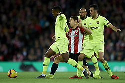 February 10, 2019 - Bilbao, Vizcaya, Spain - De Marcos of Athletic and Nelson Semedo and Sergio Busquets of Barcelona battle for the ball during the week 23 of La Liga between Athletic Club and FC Barcelona at San Mames stadium on February 10 2019 in Bilbao, Spain. (Credit Image: © Jose Breton/NurPhoto via ZUMA Press)