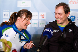 Slovenian bronze medalist cross-country skier Petra Majdic and her coach Ivan Hudac at arrival to Airport Joze Pucnik from Vancouver after Winter Olympic games 2010, on March 1, 2010 in Brnik, Slovenia. (Photo by Vid Ponikvar / Sportida)