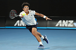 MELBOURNE, Jan. 22, 2018  Chung Hyeon of South Korea returns a shot during the men's singles fourth round match against Novak Djokovic of Serbia at Australian Open 2018 in Melbourne, Australia, Jan. 22, 2018. Chung Hyeon won by 3-0. (Credit Image: © Bai Xuefei/Xinhua via ZUMA Wire)