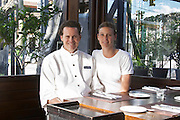 Hubert O'Farrell and Pamela Pini, owners of the restaurant. The O'Farrell Restaurant, Acassuso, Buenos Aires Argentina, South America