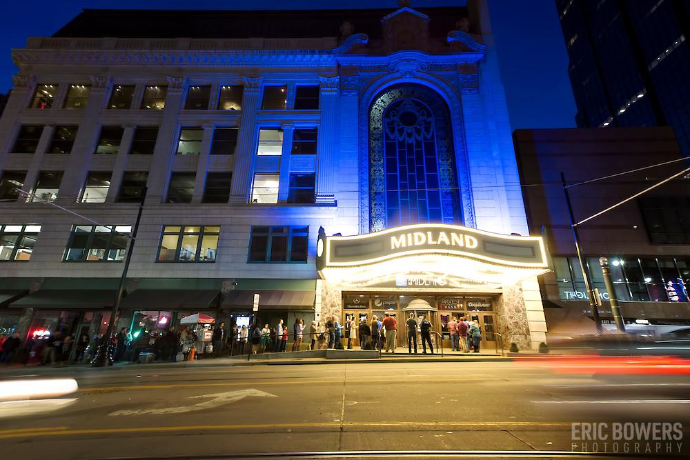 Midland Theatre in downtown Kansas City, Missouri at dusk.