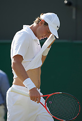 LONDON, ENGLAND - Wednesday, June 23, 2010: Tomas Berdych (CZE) during the Gentlemen's Singles 2nd Round match on day three of the Wimbledon Lawn Tennis Championships at the All England Lawn Tennis and Croquet Club. (Pic by David Rawcliffe/Propaganda)