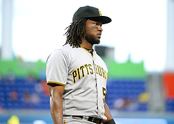 April 18, 2018 - Miami, FL, U.S. - MIAMI, FL - APRIL 13: Pittsburgh Pirates first baseman Josh Bell (55) is not happy with the call during a Major League Baseball game between the Miami Marlins and the Pittsburgh Pirates on April 13, 2018  at Marlins Park in Miami, FL  (Photo by Juan Salas/Icon Sportswire) (Credit Image: © Juan Salas/Icon SMI via ZUMA Press)