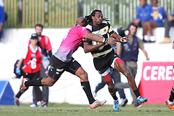 Bernado Botha of the Pumas tackles Daniel Demas of Boland during the Currie Cup premier division match between the Boland Cavaliers and The Pumas held at Boland Stadium, Wellington, South Africa on the 2nd September 2016<br /> <br /> Photo by:   Shaun Roy/ Real Time Images