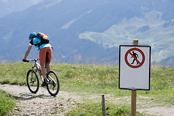 Mountain biker riding on bicycle trail with warning sign, Zillertal, Tyrol, Austria