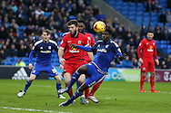 Bruno Ecuele Manga of Cardiff city ® watches as his shot at goal goes just wide. Skybet football league championship match, Cardiff city v Blackburn Rovers at the Cardiff city stadium in Cardiff, South Wales on Saturday 2nd Jan 2016.<br /> pic by Andrew Orchard, Andrew Orchard sports photography.