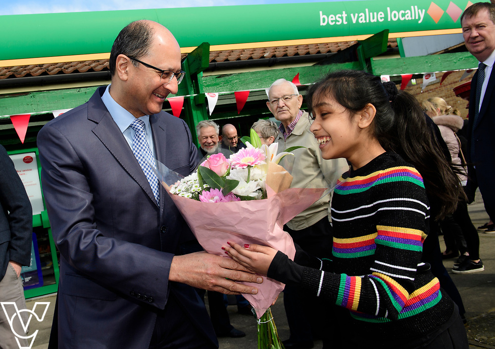 Sharuha Nithythasan (11) presents flowers to Shailesh Vara MP<br /> <br /> Shailesh Vara MP has cut the ribbon to official opening of the brand new Matley Post Office, part of the Londis Store, Matley, Orton Brimbles, Peterborough. The store is owned by Subramaniam Nithythasan and Subramaniam Nithaharan.<br /> <br /> Date: April 5, 2019