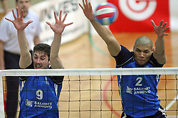 Block of Salonit Anhovo (Dejan Vincic and Roberto Carlos Brito da Purificacao)at 4th and final match of Slovenian Voleyball  Championship  between OK Salonit Anhovo (Kanal) and ACH Volley (from Bled), on April 23, 2008, in Kanal, Slovenia. The match was won by ACH Volley (3:1) and it became Slovenian Championship Winner. (Photo by Vid Ponikvar / Sportal Images)/ Sportida)