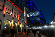 Night exterior of the Library of Birmingham Birmingham, United Kingdom. The Library of Birmingham is a public library in Birmingham, England. It is situated on the west side of the city centre at Centenary Square, beside the Birmingham Rep to which it connects, and with which it shares some facilities and Baskerville House. Upon opening on 3 September 2013, it replaced Birmingham Central Library. The library is viewed by the Birmingham City Council as a flagship project for the citys redevelopment. It has been described as the largest public library in the United Kingdom, the largest public cultural space in Europe, and the largest regional library in Europe.
