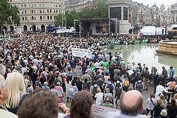 Trafalgar Square, London, June 22nd 2016. Thousands of people flood London's Trafalgar Square to celebrate what would have been slain Labour MP for Batley & Spen Jo Cox's 42nd birthhday. PICTURED: Thousands watch and listen as Brendan Cox, close to tears, delivers a moving speech about his late wife Jo.