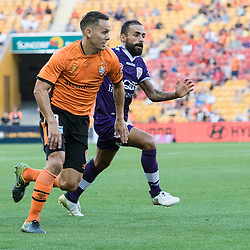 BRISBANE, AUSTRALIA - OCTOBER 30: Jade North of the roar dribbles the ball during the round 4 Hyundai A-League match between the Brisbane Roar and Perth Glory at Suncorp Stadium on October 30, 2016 in Brisbane, Australia. (Photo by Patrick Kearney/Brisbane Roar)