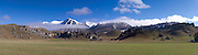 Panoramic view of Castle Hill and the Torlesse Range, from Highway 73, on the way to Arthur's Pass, New Zealand.