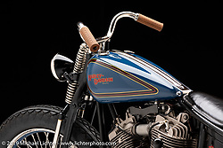 This entire bike, including the frame and all components, were machined by Jordan Dickinson. It is a 1947 Knucklehead EL striped down to race.  It placed 8th in the World at the AMD World Championships. Photographed by Michael Lichter in Sturgis, SD. August 2, 2019. ©2019 Michael Lichter