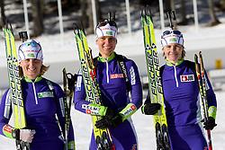 Tadeja Brankovic Likozar, Teja Gregorin and Andreja Mali at practice session during Media day of Slovenian biathlon team on November 12, 2010 at Rudno polje, Pokljuka, Slovenia. (Photo By Vid Ponikvar / Sportida.com)